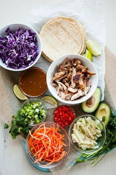 Thai Chicken Tacos with Peanut Sauce by Cafe Johnsonia | mountainmamacooks.com (I'll try these as lettuce wraps!)