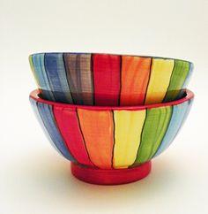 Two Rainbow Striped Ceramic Bowls Handmade Made to by JudyBFreeman Ceramic Painting, Ceramic Art, Ceramica Artistica Ideas, Rainbow House, Pottery Handbuilding, Mug Art, Ceramics Projects, Plate Design, Ceramic Plates