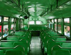 inside a green bus