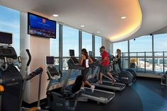 Sky Club - state of the art fitness center. Who wouldn't want to work out at a fitness center with a view? #220twentiethst #220living #luxury