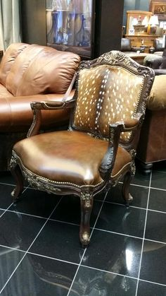 Smooth Leather And Speckled Deer Hide Make This Chair Perfect For Any  Western Design Scheme!