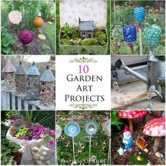 10 Creative Ideas For Your Garden ~ These 10 projects are all easy ways to turn household stuff into creative art for your garden.