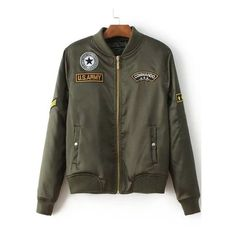 Army Green Patch Embroidery Flight Jacket (130 PEN) ❤ liked on Polyvore featuring outerwear, jackets, embroidery jackets, green camo jacket, embroidered jacket, blouson jacket and olive green bomber jacket