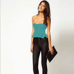 Oh my love teal cropped peplum Very good condition teal peplum, small ASOS Tops Crop Tops