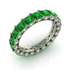 Certified-3-94-Ctw-Princess-Emerald-amp-Diamond-Eternity-Band-Ring-in-Platinum