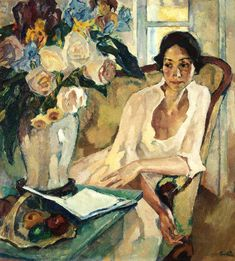 """Portrait of a Woman (1922). Leo Putz (Austrian, 1869-1940). In 1899, Paul Höcker's studio class founded the artist group """"Scholle."""" Putz was one of its founding members. The group confronted the predominant academic style and Historicism with a new, temperamental painting style, which was influenced by Wilhelm Trübner. The central subject was the depiction of people, mainly women (from Books and Art)"""