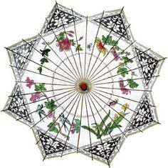 This beautiful rice paper parasol carries a traditional Chinese painting. It is 33 inches in diameter and has a 25 inch bamboo stem with a carved wooden handle. The top is decorated with a paper covered finial.