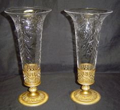 Matching Pair of Antique Pairpoint Chelsea Cut Glass Trumpet Vases w Metal Bases | eBay