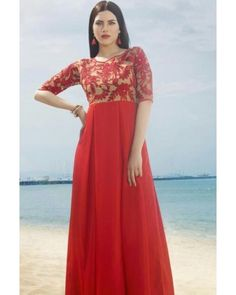Red Poly Satin Gown
