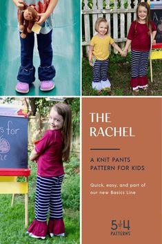 PDF sewing pattern for the Kids' Rachel Knit Pants. Sizes through Shorts and pants that can be hemmed or made with optional ruffles. Sewing Patterns For Kids, Line Patterns, Sewing Ideas, Sew Pattern, Pants Pattern, Diy Clothing, Clothing Patterns, Fall Sewing, Sewing School