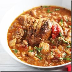 chipotle chicken-- ◾1  yellow onion, peeled and chopped  ◾1 red bell pepper, seeded and diced  ◾4 cloves garlic, peeled  ◾2 chopped chipotle chiles in adobo sauce  ◾8 new potatoes, scrubbed and cubed  ◾1 can of petite diced tomatoes ◾1 can of navy beans ◾2 cans low-sodium chicken broth  ◾1/2 tsp ground cumin  ◾1 tbsp extra-virgin olive oil  ◾3/4 tsp sea salt  ◾1/2 cup chopped fresh cilantro leaves  ◾1 lime, quartered