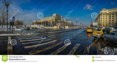 Photo about Beautiful panorama from Bucharest, Romania with Romanian Parliament and traffic boulevard in winter season. - 106948250