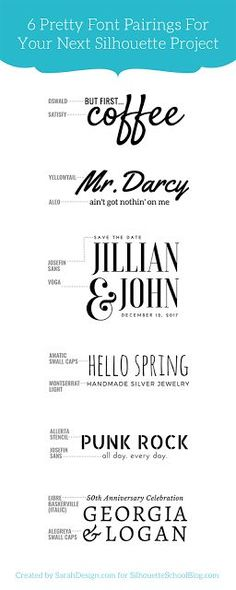 Tip for Perfectly Pairing Fonts for Your Silhouette Projects (And 6 Perfect Matches) - Silhouette Cameo, Silhouette projects, font pairing, Silhouette tip - Web Design, Font Design, Website Design, Typography Design, Type Design, Design Ideas, Graphic Design Projects, Typography Inspiration, Vector Design