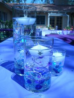 Like how the glass is decorated for these floating candles