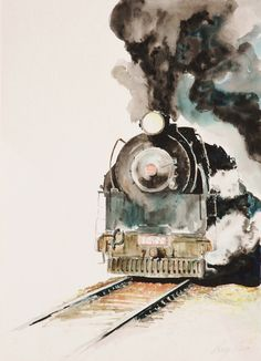 """Smokin"" watercolor. Artist Greg Clibon"