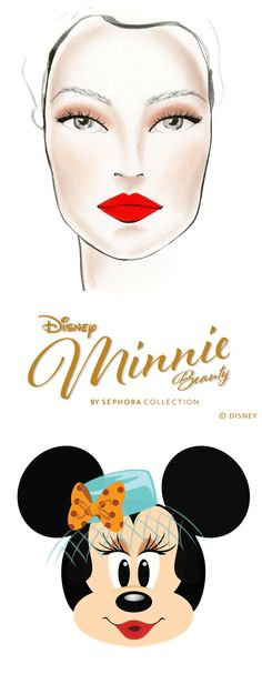 Minnie Goes 1940s Bold.   Go bold in Minnie's 1940s-inspired beauty look.   1. Apply Some Like It Dot over your eyelid from lash to crease and blend out the edge. 2. Add Pick Me Up At 8 to the outer corner of your eye and blend in. 3. Apply Minnie's Felt Eyeliner in black to lash line for a bold effect. 4.Apply mascara. 5. Sweep Minnie's Inner Glow Luminizing Blush over cheeks for a healthy, glowing look. 6. Use SEPHORA COLLECTION Cream Lip Stain in Orange to complete the look.