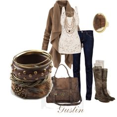 Second clothing option... love the jean/boots feel with neutral tones, and the jewelry, need larger earrings!
