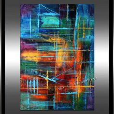 PEINTURE à lHUILE moderne grand Abstract Art rouge par largeartwork