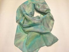 SALE Silk Scarf Greens Grays and a touch of Lavender by KFArtistry