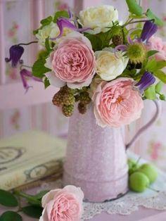 flowers.quenalbertini: Flowers in vintage enamel pitcher