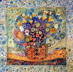 Reminiscent of a quilt, with many small pieces, this is another image combining warm and cool colors to great effect. Juan Romero is the artist, he is Uruguayan, although the website this is pinned from is in Russian.