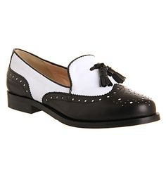 Office Vectra Brogue Loafer Black White Leather - Flats