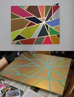spray canvas metallic gold, create a pattern using masking tape, paint with acrylic paint, remove the tape