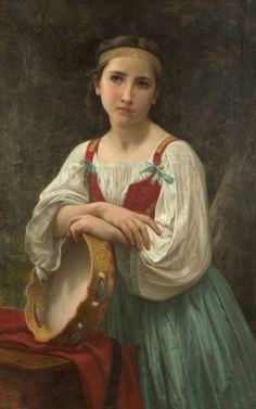 """William Adolphe Bouguereau, """"Gipsy with the Tambourine,"""" 1867, oil on canvas, 39 1/2 x 25 1/4 in. (c) Heritage Auctions 2016"""