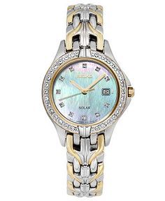 Seiko Watch, Women's Solar Excelsior Two-Tone Stainless Steel Link Bracelet 27mm SUT084 - Watches - Jewelry & Watches - Macy's