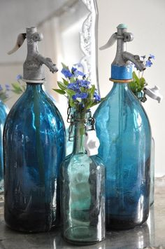 Blue Glass from Gypsy Purple home. Antique Bottles, Vintage Bottles, Antique Glass, Vintage Perfume, Altered Bottles, Soda Bottles, Bottles And Jars, Water Bottles, Perfume Bottles