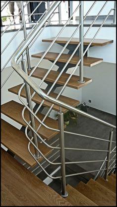 Inox Algarve www.cbi-lda.com geral@cbi-lda.com Steel Stairs Design, Modern Stair Railing, Staircase Handrail, Metal Stairs, Modern Stairs, Staircase Interior Design, Balcony Railing Design, Bathroom Interior Design, Stainless Steel Stair Railing