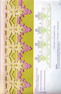 Captivating All About Crochet Ideas. Awe Inspiring All About Crochet Ideas. Crochet Boarders, Crochet Edging Patterns, Crochet Lace Edging, Crochet Diagram, Crochet Chart, Thread Crochet, Crochet Trim, Love Crochet, Filet Crochet