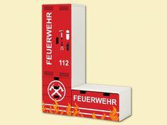 """Feuerwehr Kinderzimmer: """"Feuerwehr"""" Aufkleber-Set passend für den Kinderzimmer Aufbewahrungskombination  STUVA von IKEA (L-Form) Bestehend aus Schrank, Kommode mit 3 Fächern und Banktruhe"""