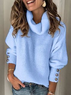 Women Long Sleeve Casual High Neck Button Sweater – Zobrain Source by vestito Casual Sweaters, Pullover Sweaters, Sweaters For Women, Women's Sweaters, Trend Fashion, Women's Fashion, Latest Fashion, Long Sleeve Turtleneck, High Collar