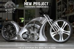 New Project: After our PainTTless in 2012 we have the next big custom project - the #Thunderbike Unbreakable. Here you can see an early version of the bike. The presentation will be live at European Bike Week and a week later here at Thunderbike Open House (14th September '13).