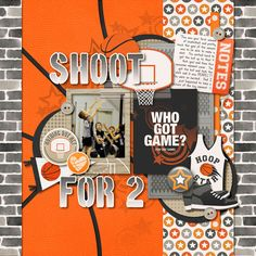 Digital Scrapbook Layout - Basketball - by Kim Ege using 3 Point Shot (and Cards) by Traci Reed