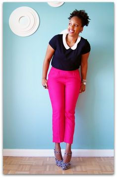 contrast color collar blouse and pink