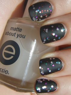 Black + Glitter + Matte= perfect party nails (wish I would have seen this before new years eve!)