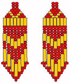 An idea how to make seed bead earrings.  I dont like their designs but it gives me an idea of how to shape them.