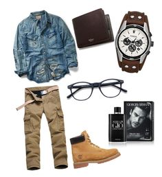 """""""Untitled #8"""" by ollalorenza on Polyvore featuring Ralph Lauren, Timberland, FOSSIL, Mulberry, Giorgio Armani, men's fashion and menswear"""
