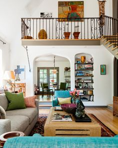 eclectic living room open floor plan