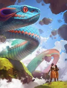 rainbow serpent by GaudiBuendia. Shading aside, the texture of the snakes scales really pop, Gaudi nailing the perspective with massive scales in the foreground and growing smaller as the serpent stretches into the distance. Mythical Creatures Art, Magical Creatures, Creature Concept Art, Creature Design, Monster Art, Character Art, Character Design, Rainbow Serpent, Fantasy Kunst