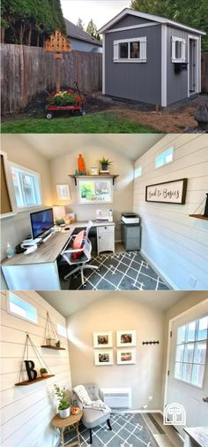This cozy cottage home office is the perfect mix of farmhouse style and modern workspace. Working from home looks good inside a backyard home office. With rustic white shiplap, a cozy rug, houselplants, and cozy furniture, this backyard home office is an incredible workspace. Check out our DIY guide for designing your own home office, starting with your backyard shed. This farmhouse style home office has plenty of cozy interior design touches to inspire a farmhouse style home office of your…