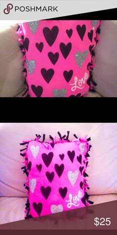 Bling Reversible Travel/throw Pillow. New Brand New Sparkly Love Heart ❤️ pillow. Perfect for decorating or travel. Measures 12x 10. Really cute! Other