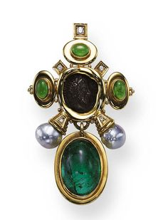 A TOURMALINE, COIN AND CULTURED PEARL BROOCH, BY ELIZABETH GAGE   Centering upon a coin depicting the profile of a man, within a sculpted gold frame, extending cabochon tourmaline and baroque pearl terminals, accented by circular-cut diamonds, suspending a cabochon tourmaline pendant, mounted in 18K gold, with English hallmarks  Signed Gage for Elizabeth Gage