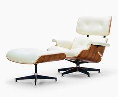 Eiffel Lounge-Stuhl und Hocker - Weissen Premiumleder