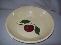 """Watt Pottery APPLE Yellow Ware Large 13"""" Spaghetti Serving Bowl #39 USA"""