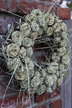Charleston anyone? Can order at florist or Charleston Collections and Gifts Flax Flowers, Paper Flowers, Diy Wreath, Burlap Wreath, Flax Weaving, Charleston, Flower Designs, Floral Arrangements, Christmas Wreaths