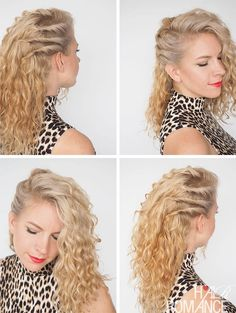 Love this hairstyle to add some structure to curly hair. Check out Hair Romance's 30 Days of Curly Hairstyles ebook at www.hairromance.com/shop to learn how to master your curls every day with ease.
