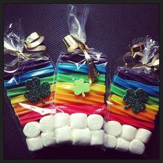 St Patricks Day candy rainbow: twizzlers & marshmallows